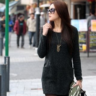 59 Seconds - Faux Leather Pocket Long Knit Top