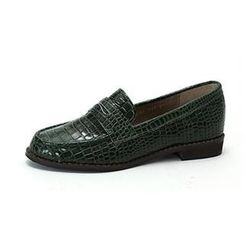 MODELSIS - Croc-Grain Genuine Leather Loafers