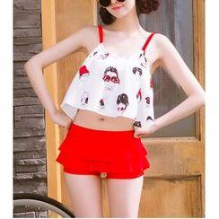 Jumei - Cartoon Print Tiered Tankini