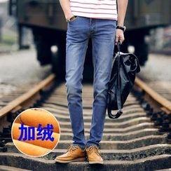 Denimic - Fleece-Lined Straight Leg Jeans