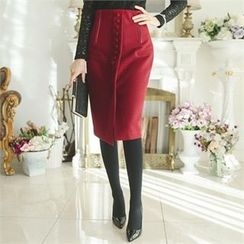 ode' - High-Waist Button-Front Pencil Skirt