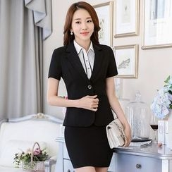Pearlescent - 套裝:短袖夾克 + 鉛筆裙
