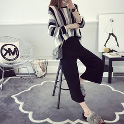 efolin - Set: Striped Sweater + Cropped Wide Leg Pants