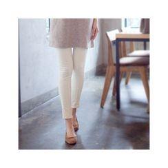 MASoeur - Seam-Trim Brushed-Fleece Leggings Pants