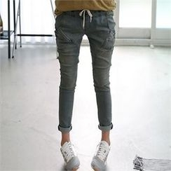 CHICFOX - Drawstring-Waist Tapered Jeans