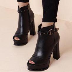 Forkix Boots - Studded Belt Open-Toe Heeled Short Boots