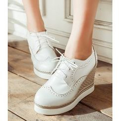 Freesia - Platform Wedge Lace Ups