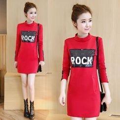 Emeline - Long-Sleeve Print A-Line Dress
