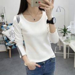 Emeline - Long-Sleeve Color Block T-Shirt