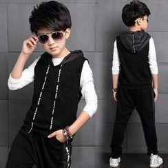 Pegasus - 童裝套裝: 長袖T恤 + 連帽馬甲 + 運動褲