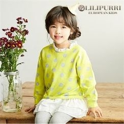 LILIPURRI - Girls Frill-Trim Polka-Dot Pullover