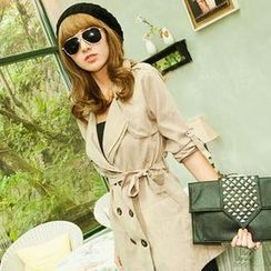 CUTIE FASHION - Double-Breasted Tie-Waist Trench Coat