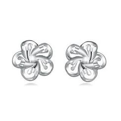 MaBelle - 14K/585 White Gold Flower Stud Earrings
