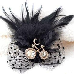 Trend Cool - Rhinestone Bicycle Feather Brooch