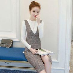Yumerakka - Set: Long-Sleeve T-Shirt  + Sleeveless Woolen Dress