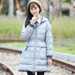 Pipafellow - Applique Hooded Padded Zip Coat