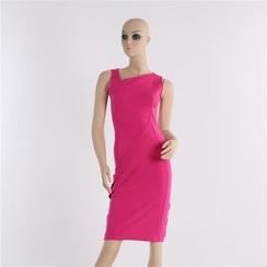 Noctiluca - Sleeveless Asymmetric Sheath Dress