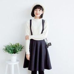 Forest Girl - Woolen Pleated Pinafore