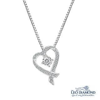Leo Diamond - Verse of Precious Heart Collection - 18K White Gold Diamond Paved Ribbon Heart-Shaped Pendant Necklace (16')