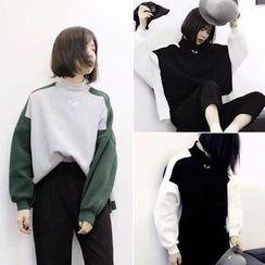 Shimi - Two-Tone Mock Neck Oversized Sweatshirt