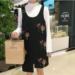 CosmoCorner - Flower Embroidered Jumper Dress