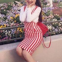 Neon Nite - Set: Plain Shirt + Striped Pinafore Dress