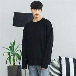 MITOSHOP - Crew-Neck Loose-Fit Knit Top