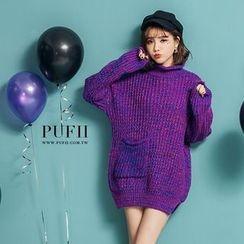 PUFII - 長版單口袋高領針織毛衣