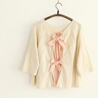 11.STREET - Bow-Accent Back Bat-Sleeve Cardigan