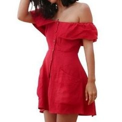 Flobo - Off-Shoulder Ruffled A-Line Dress