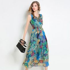 Diosa - Sleeveless Printed Midi Dress
