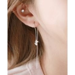 Miss21 Korea - Faux-Pearl Flower Threader Earrings
