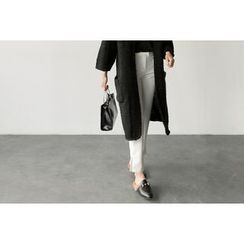 UPTOWNHOLIC - Slit-Side Flat-Front Pants