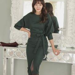 ode' - Wool-Blend Slit-Front Dress With Belt