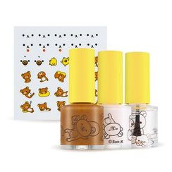 A'PIEU - Nail Color & Deco Kit (Rilakkuma Edition): Nail Moisture + Glow Nail Touch (Deep Brown) + Gel Top Coat + Sticker 1pc