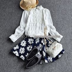 YOZI - Frilled Collar Crochet Chiffon Blouse
