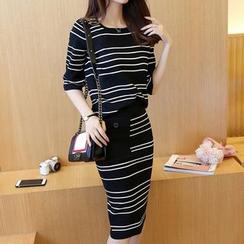 Bubbleknot - Set: Stripe Knit Top + Skirt