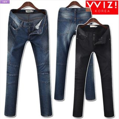 WIZIKOREA - Ribbed-Panel Jeans