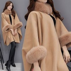 MIUCO - Faux Fur Trim Woolen Cape