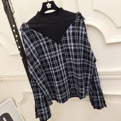 RUI - Plaid Mock Two-Piece Bell-Sleeve Blouse