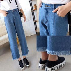 Angel Shine - Fray Hem Wide Leg Jeans