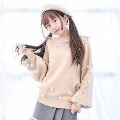 Moriville - Embellished Lantern Sleeve Sweater