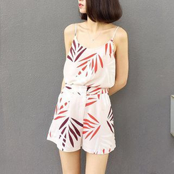 MATO - Set: Print Camisole Top + High Waist Shorts