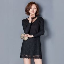 Romantica - Long-Sleeve Lace Minidress