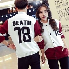 INUS - Couple Matching Color Block Baseball Jacket