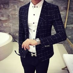 MEING - Single-Button Check Jacket