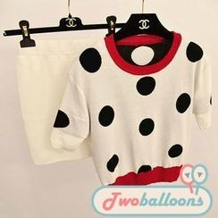 JVL - Set: Polka-Dot Knit Top + Skirt