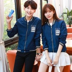 CASSY - Lettering Zip Couple Matching Jacket
