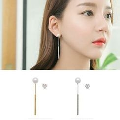 Avery - Non Matching Faux Pearl Drop Earrings