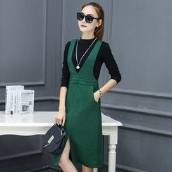 Supernova - Set: Long-Sleeve Knit Top + V-Neck Midi Pinafore Dress